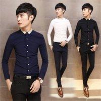 Wholesale 2016 Hot Sales Mens Slim fit Unique neckline stylish Men Dress long Sleeve Shirts Mens dress shirts size M XL