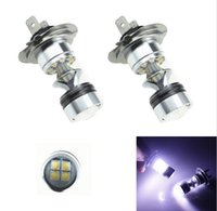 Wholesale 2X H7 W White CREE LED Projector Fog Tail Driving Car Head Light Lamp Bulb SMD Cree Car Fog Light DC V V interior lighting Source
