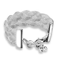 Wholesale 10PCS European and American fashion sterling silver mesh bracelet weaving bracelet female models to send his wife Valentine gift