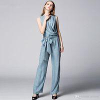 ammonia copper - Simple new summer high end brand fashionable OL temperament slim fit show thin copper ammonia silk jumpsuit
