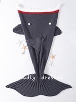 Wholesale Fashion Comfortable Girls Kids Handcrafted Knitted Swimming Mermaid Tail Blanket for Children Adult Shark Grey One Size