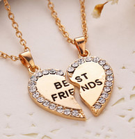 Wholesale New Movie Jewelry Gold Crystal Broken Heart Pendant Parts Best Friend Necklaces Pendants Share With Your Friends