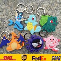 Wholesale New Poke Pocket Monster Key Rings Action Cartoon Figure Soft PVC Keychain XMAS Toys Gifts SZ K02
