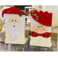 atmosphere table cloth - 2016 Santa Claus Hat Christmas Dinner Table Party Christmas Chair sets theme atmosphere decoration hotel restaurant chair cover