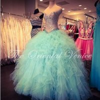 Wholesale Mint Green Vestidos De Anos Ball Gown Sweet dresses Sparkly Crystal Tulle Corset Princess Cheap Quinceanera Dress