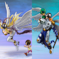 action figure digimon - 20 cm Digimon Adventure Angemon and Angewomon and light health Ver PVC action figure Doll Toy new collection