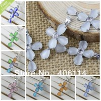 Wholesale MIC Mixed Color Opal Copper Overlock Rhinestone Cross Pendant MM Jewelry DIY