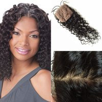 Cheap 7A Brazilian Silk Base Closure deep Wave Human Hair closure 4x4 Silk Closure Bleached Knot Free Middle 3 Part Silk Base Closure