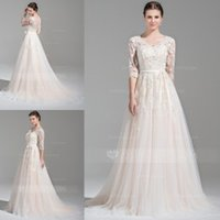 Wholesale Vintage Wedding Dresses with Half Sleeves Bridal Gowns V Neck Beaded Appliques Court Train A Line Winter Cathedral Wedding Gowns with Sash