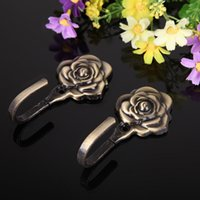 antique curtain tieback - 2PCS Rose Pattern Iron Curtain Wall Tieback Hook Home Decor Antique Brass