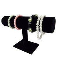 al por mayor exhibiciones de la joyería del collar del terciopelo negro-El sostenedor libre 23.5 * 15 * 7 de la barra de la pulsera T del collar del brazalete del terciopelo del negro de la exhibición de la joyería del envío (CM)