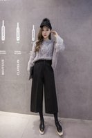 big canister - New winter high waist nine points wide legged pants female loose big yards show thin trousers slacks straight canister