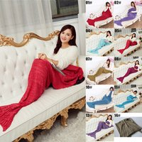 Wholesale Autumn Winter x95CM Yarn Knitted Mermaid Tail Blanket Super Soft Handmade Ladies Blanket Crochet Anti Pilling Portable Women Blankets