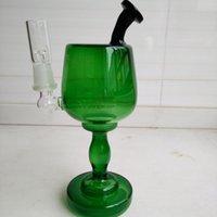 Plateaux dabs verts 190mm Hauteur Coupe de vin Bongs en verre Tubes d'eau en verre Inline Recycler Oil Rig fumant tuyaux 14.4mm Bowl + Nail