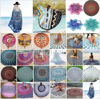 bath - Round Bikini Cover Ups Beach Beach Towel Bikini Cover Ups Bohemian Hippie Beachwear Chiffon Beach Sarongs Shawl Bath Towel Yoga Mat B344