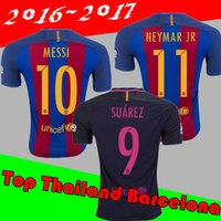 Wholesale New Best Quality shirts Soccer MESSI NEYMAR JR SUAREZ PIQUE HOME Custom shirt