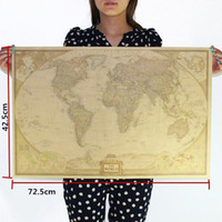 Wholesale Large Vintage World Map Home Decoration Detailed Antique Poster Wall Chart Retro Paper Matte Kraft Paper inch Map Of World