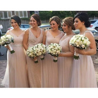 Wholesale A line wedding guest dress rose gold country bridesmaid dresses V neck mother of the bride Long Lace evening dressess QW726