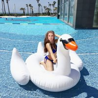 Wholesale Inflatable Leisure Giant Swan Float Toy Rideable Raft Swimming Pool Celebrity