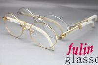 achat en gros de lunettes directes d'usine-Haute quanlity Vente directe d'usine 7550178 White Buffalo corne Lunettes populaires Lunettes de marque Taille: 55-22-135 mm