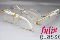 Wholesale High quanlity Factory direct sale White Buffalo horn Eyeglasses popular Brand Glasses Size mm