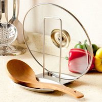 Wholesale 2016 New never rust metal stainless steel pot Pan Cover rack shelving knife lid Shelves Kitchen cooking ware tools