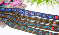 Wholesale NEW yd national wind embroidery ribbon DIY handmade accessories lace ribbon polyester woven jacquard ribbon trim