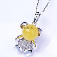 amber bear - Natural amber pendant S925 silver inlay amber beeswax simple cartoon bear female models a