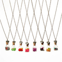 Wholesale Crystal diamond dry flower drift wishing bottle heart pendants Necklaces for women lover gemini necklace DIY jewelry Christmas gift