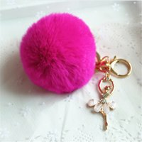 Wholesale 2016 new hot selling style key chain fashion cute fuzzy metal tassel plush lovely high end