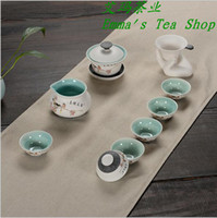 bone china tea cup - High quality total Tea bowl with cover Tea Set Ceramic Gaiwan Bone China Tea Cups Tea Strainter pc Tea Pitcher pc