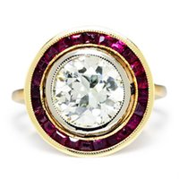 art deco ring gold ruby - Art Deco European Diamond Engagement Ring with Rubies in Rose White Gold