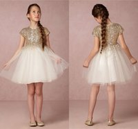 Wholesale 2016 New Lovely Champagne Sequined Flower Girls Dresses Short Sleeves Princess A Line Tulle Zipper Back First Communion Birthday Dresses