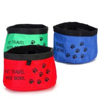 Wholesale Portable Pet Dog Bowl Oxford Cloth Dog Cat Collapsible Foldable Travel Camping Food Water Feeder Bowl Dish Food Container JJ0008