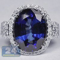 Wholesale 18K White Gold ct Oval Blue Sapphire Diamond Womens Gemstone Ring