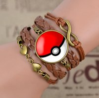 animal shaped glass beads - Go Jewelry Women Men Heart Shaped Glass Pokeball Leather Woven Bracelet Bangles TOP1368