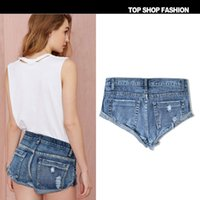 Wholesale European Grand Prix new European and American women loose denim decadent style no bombs curling frayed shorts beach shorts