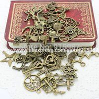 Wholesale 60 pattern Mixed Assorted Carved Charms Pendants Beads Metal Alloy Pandent Plated Antique Bronze Diy Bead