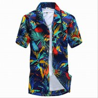 Wholesale Hawaii Style Men Floral shirts Sandy beach Summer Camise Short Sleeve Fit Men shirts Printing Shirt Plus size XL D5158