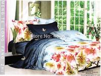 bargain comforter sets - Excellent Bargains Girls peach blossom cotton floral bedclothes duvet cover flat sheet queen size comforter bedding sets pc