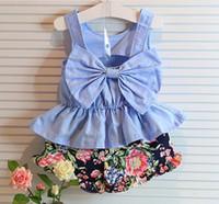 Wholesale Kids Clothing summer paragraph Kids girls new Korean children suit back bow sleeveless pants suit