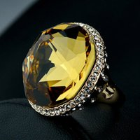 Cheap High quality luxury gold elements Natural Austria yellow crystal women jewelry Citrine big rings female girlfriend gift