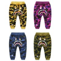 Wholesale new spring autumn Cotton Camouflage Shark Pants boys pants girls leggings kids boys winter clothes children ruffle pants