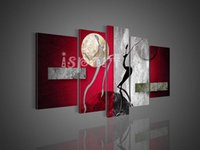 abstract dance paintings - large modern abstract oil painting on canvas hand painted red silver dancers wall pictures dancing women art painting for living room decor