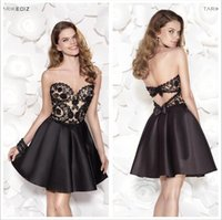 adorn bows - 2016 Tarik Ediz Mini A Line Homecoming Dresses Sweetheart Lace bodice and Backless with bow adorned Gowns