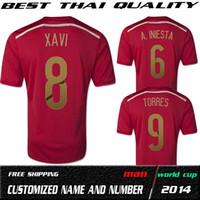 Wholesale Top Thailand Quality Brazil World Cup Spain Home Red Fan Jerseys Plus size form XXL XXXL XL