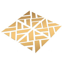 art geometry - Hot Sale Set About x100cm Modern D Geometry DIY Mirror Like Wall Stickers Art Silver Gold Home Decor Decoration