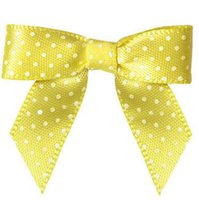 Wholesale 600pcs Pre yellow colour satin Ribbon Gift Package Bow with Twist Tie