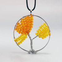 beautiful wire rope - Natural tree of life orange crystal pendant Necklace Gifts beautiful Fashion jewelry stone Handmade round wire crystal necklace