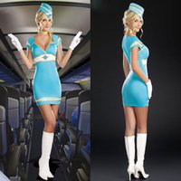 air stewardess fancy dress - Halloween Costumes Adult Women Pilot Blue Stewardess Air Hostess Air Candy Costume Fancy Dress Cosplay Clothing for Women